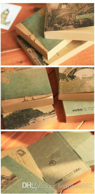 Retro kraft paper notebook Eiffel Tower Pattern Notebook Book style Notepad17*10.2cm