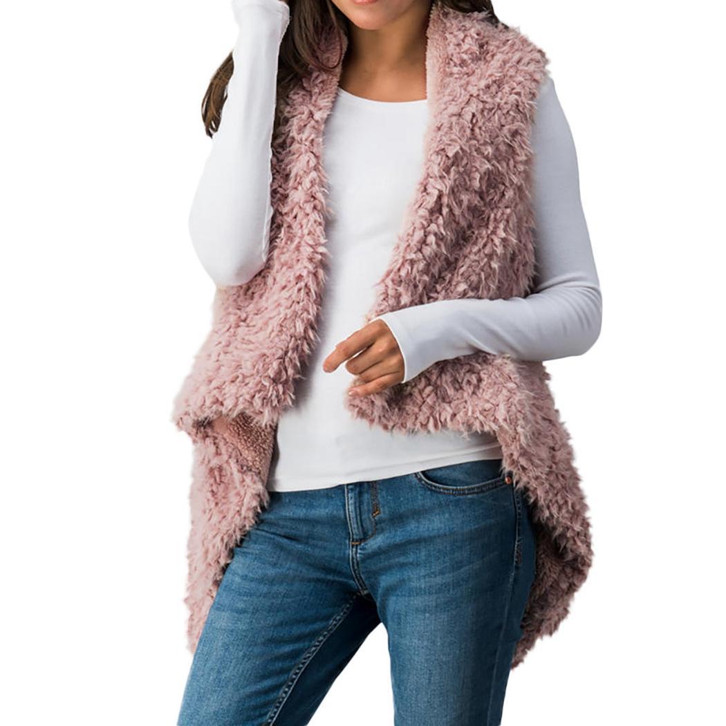 b126b35c7d501 2018 Women Faux Fur Coat 2018 Winter Warm Plush Vest Gilet Fashion  Sleeveless Hairy Jacket Waistcoat Feamle Solid V Neck Outwear 3XL From  Clothfirst, ...