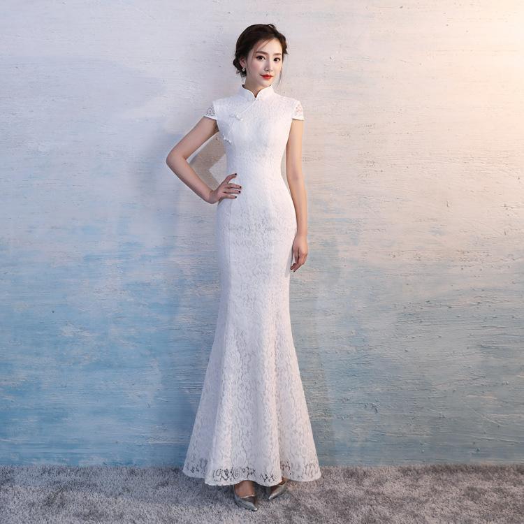 cc93d859e Compre Hyg896 Vestido Tradicional Chino Encaje Blanco Cola De Pescado Boda  Qipao Vestido Novia China Sirena Boda Cheongsam Vestido Largo Cheongsam A   93.27 ...