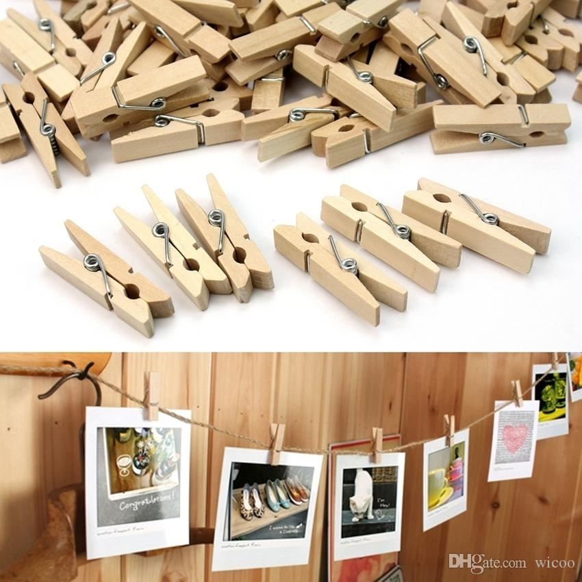 25mm Mini Natural Wooden Clips For Photo Clips Clothespin Craft Decoration Clips Pegs