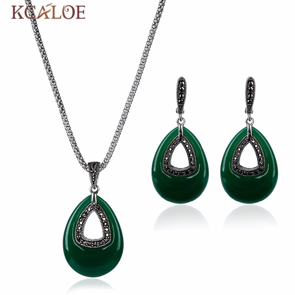 KCALOE 2017 New Green Natural Stone Jewelry Sets Vintage Retro Black Crystal Rhinestone Cubic Zirconia Necklace Earrings Set