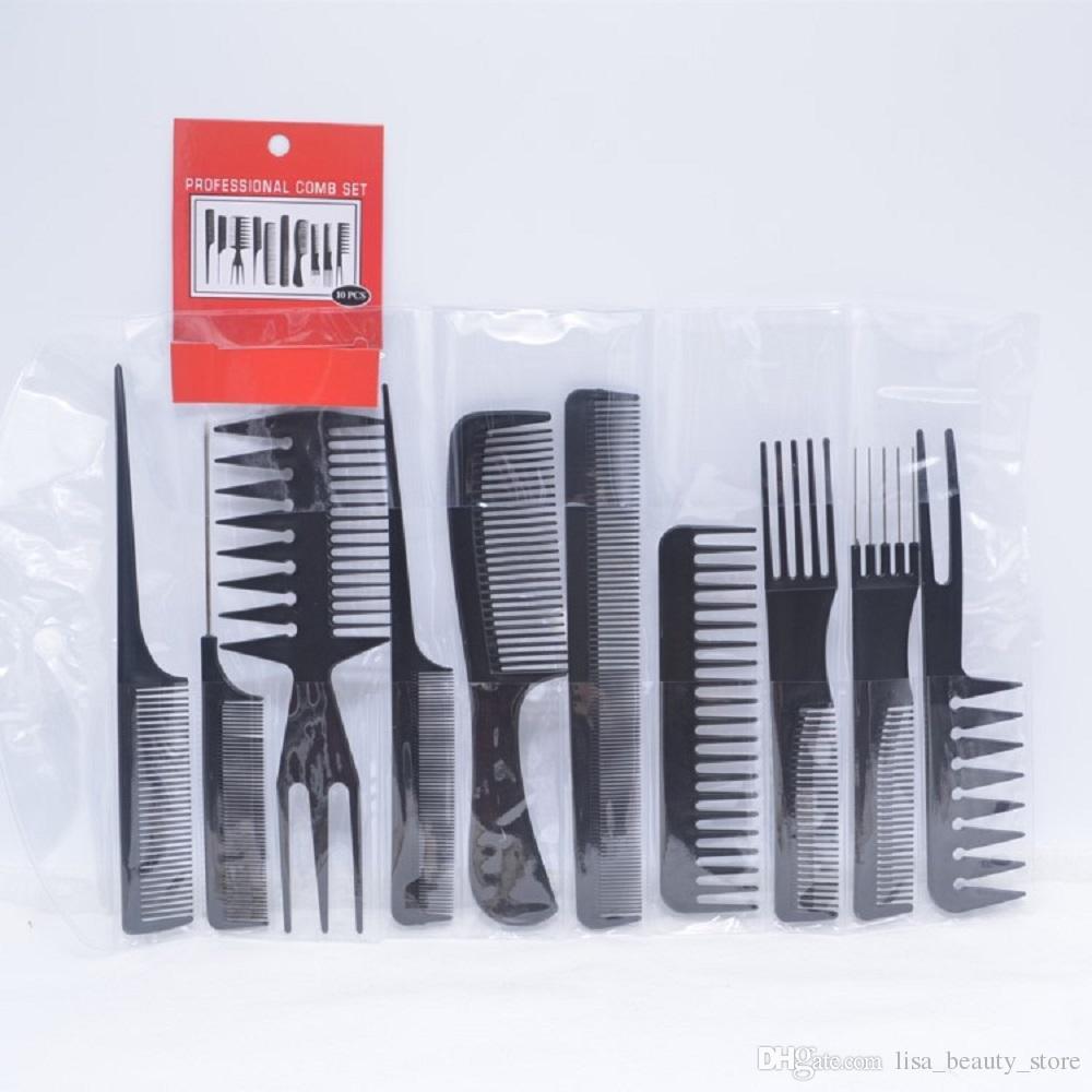 10 unids / set cepillo de pelo profesional peine salón peluquería peines antiestáticos cepillo para el pelo peine peluquería cuidado del cabello herramientas de peinado