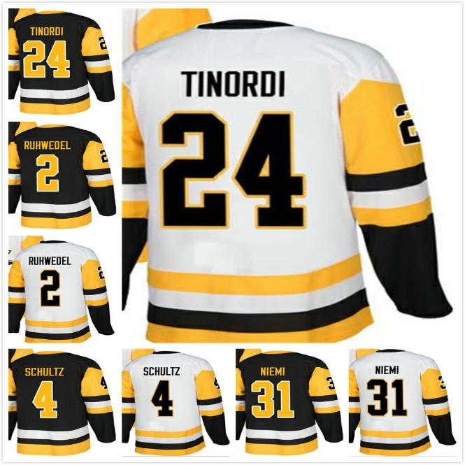 promo code 0de91 e89dd Mens 2018 Pittsburgh Chad Ruhwedel 4 Justin Schultz 24 Jarred Tinordi 31  Antti Niemi 50th 10th Stanley Champion Patch Hockey Jersey