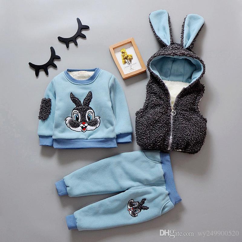 nouveau costume d'hiver de trois pièces pour garçons et filles de nouveaux vêtements de sport chandail enfants vêtements ainsi que le cachemire épaissi