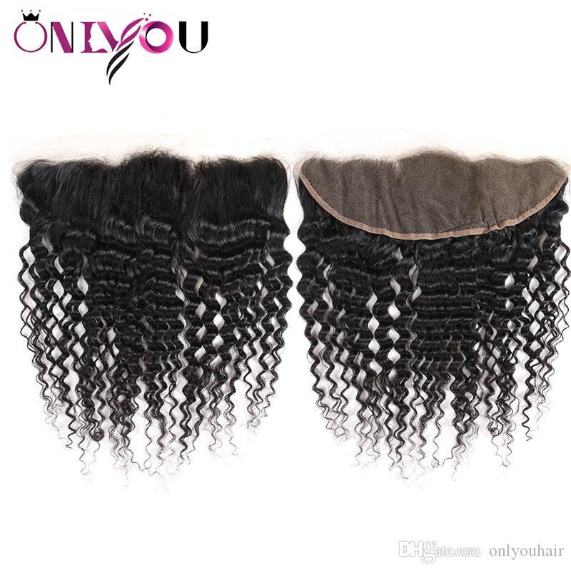 Peruanisches Haar von Onlyouhair mit frontalem Verschluss Deep Wave-Echthaar-Bündel mit frontalem Ohr-zu-Ohr-Bündel aus Remy-Haarwebart mit weicher, tiefer Welle