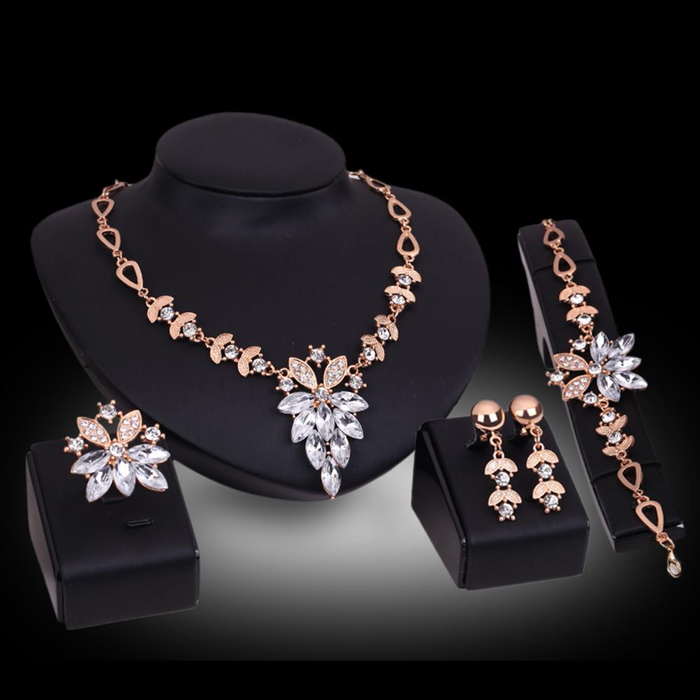 Cindiry Jewelry Set Leaf Crystal Earrings Necklace Bracelet Round Fashion Jewelry For Women Party Jewelry Set