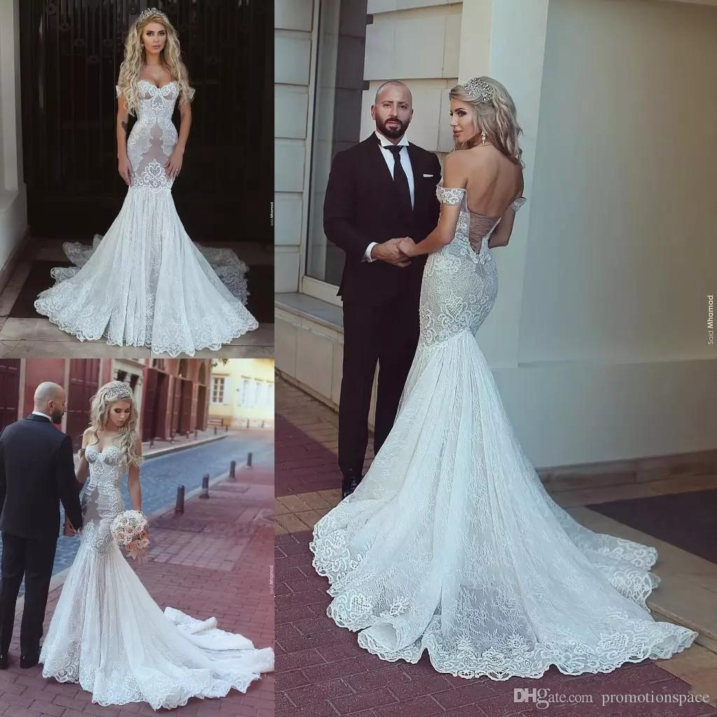 Stylish Lace Mermaid Wedding Gown Sexy Off Shoulder Sleeveless ...