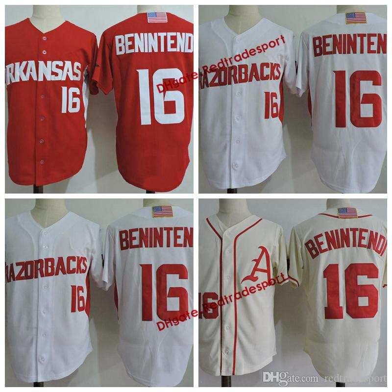 bac172b49 2019 Mens Andrew Benintendi Arkansas Razorbacks College Baseball Jersey  White Red 16 Andrew Benintendi University Stitched Baseball Red Shirts From  ...