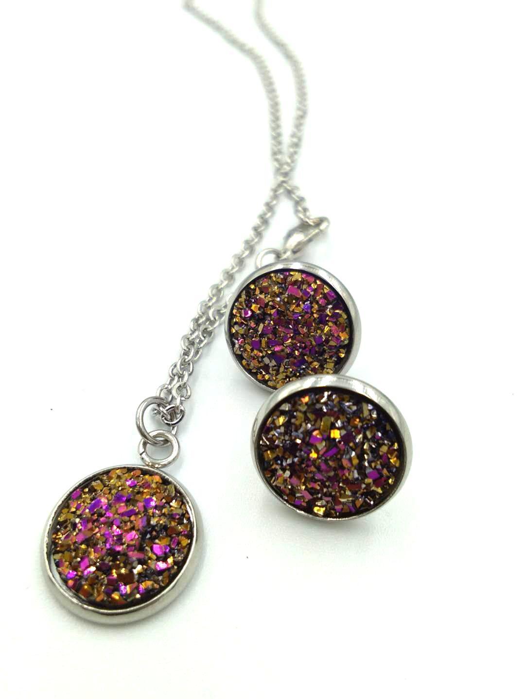 2018 Druzy Drusy Stud Earrings Rock Lava Crystal geometry Stone necklace Earrings Jewelry for women Girl brithday christmas Gift
