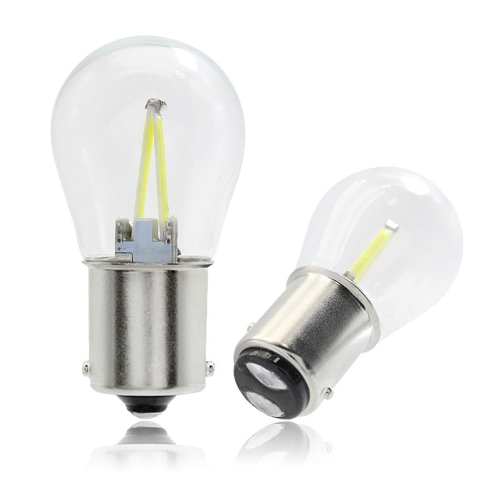 1156 BA15S 1157 BAY15D Strobe Flash COB LED Filament Car Light Bulb 12V  Glass Flashing Brake Reverse Turning DRL Signal Lamp Energy Saving Light  Bulbs Light ...
