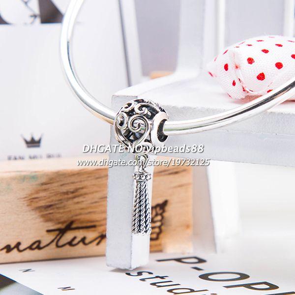 2018 Spring Release Sterling Silver Enchanted Heart Tassel Charm Bead Fits All European DIY Bracelets Necklaces DA249