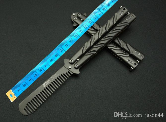 special practice Coloured titanium combs Pocket Folding Knife butterfly knife Cast steel Camping/ home cutting tools gift Wholesale