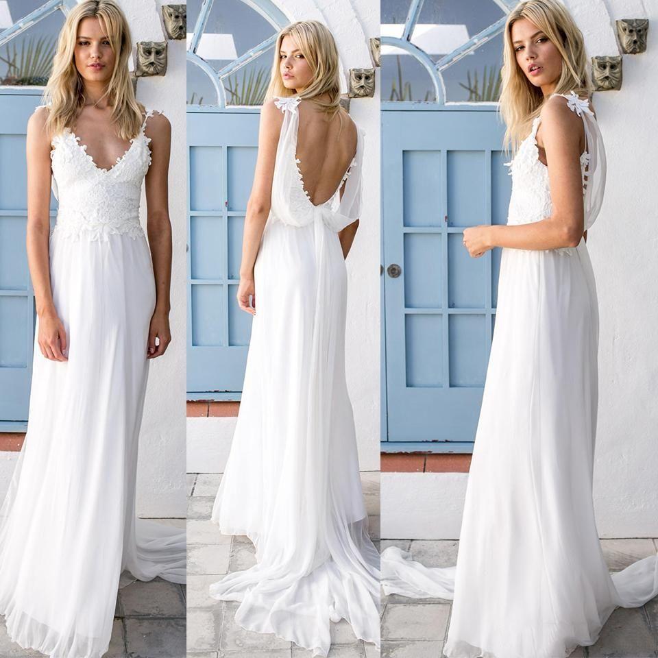 2018 Generous Bohemian Wedding Dresses V Neck Lace Chiffon Backless ...