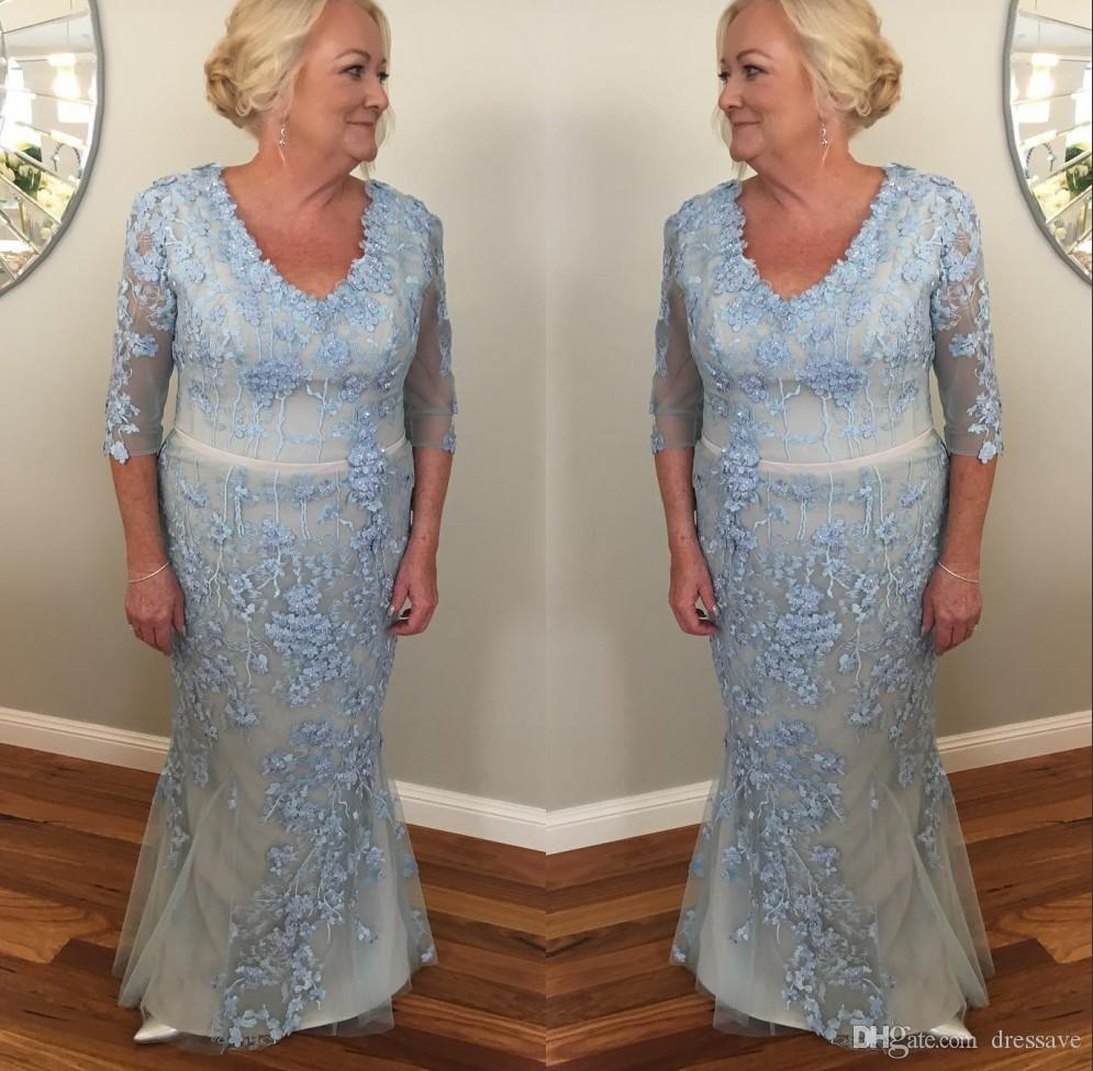 e3d597876e Sky Blue Plus Size Mother Of The Bride Dresses With Sleeves 3D Floral  Appliques Formal Dress Groom Mother Evening Gowns Wedding Party Dress