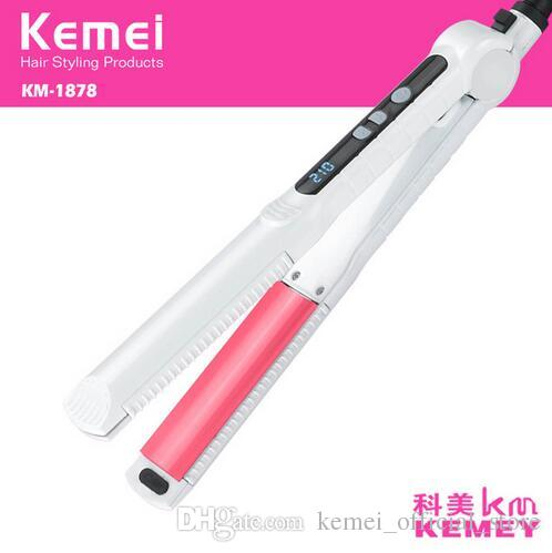 kemei km-1878 hair straightener professional flat irons curling styling tools ionic 3 in 1 straightening irons hair curler