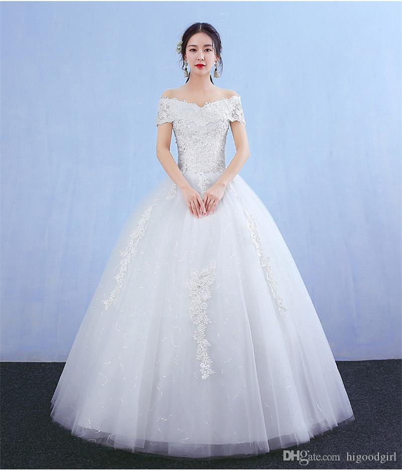 909d907db31a 2018 Cheap Newest Off Shoulder Short Sleeveless Lace Applique White Or  Ivory In Stock Ball Gown Wedding Dresses Cheapest Wedding Dresses  Contemporary ...