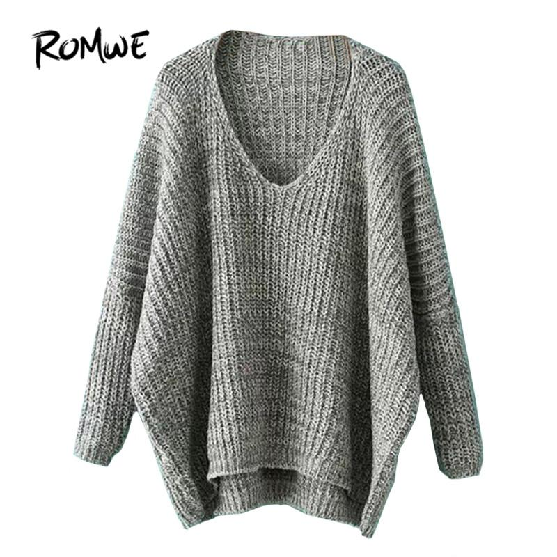7101cbc2d 2019 ROMWE Womens Casual Loose Pullovers For Autumn Ladies Plain V ...