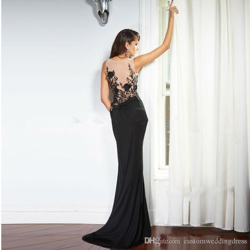 robe de soiree vestidos de noche formales Tank Zipper vestido de fiesta largo para la boda apliques de encaje negro con cuentas sirena sin respaldo
