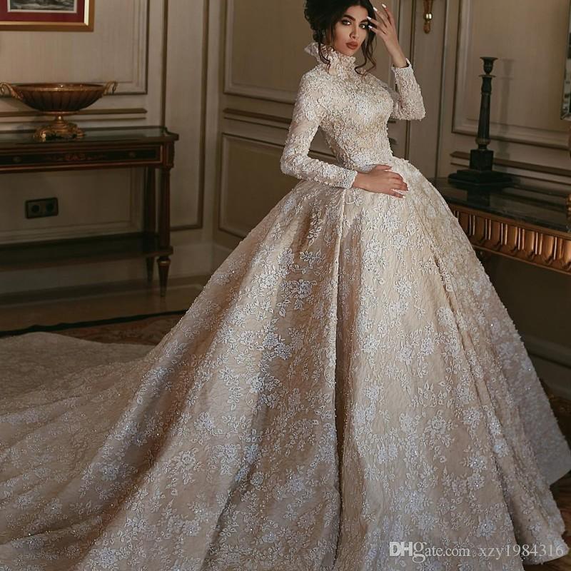 Fashion Saudi Arabia Wedding Dress High Neck Long Sleeves Beads Lace ...