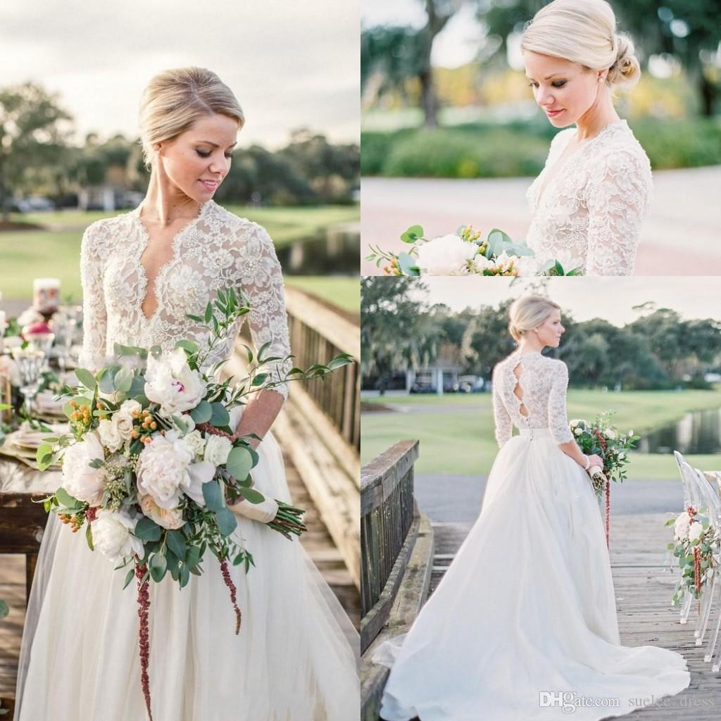 Sexy V Neck A Line Wedding Dresses 3/4 Long Sleeves Lace Appliqued Tulle Satin Sweep Train Country Wedding 2018 Bridal Gown