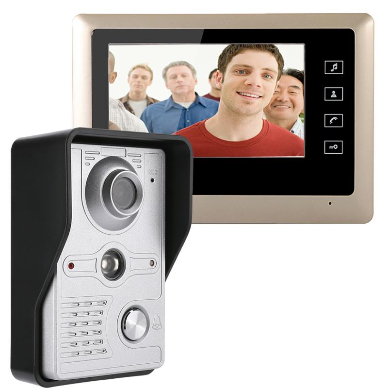 MOUNTAINONE 7 Inch Video Door Phone Doorbell Intercom Kit 1 Camera Monitor Night Vision With IR CUT HD 700TVL Front And