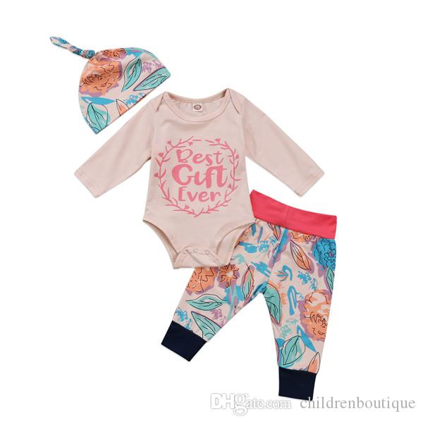 9320e4c4f822 2019 Kids Clothing Best Gift Ever Newborn Toddler Baby Girl Clothes Long  Sleeve Tops Romper Floral Pants Hat Outfits 2018 Spring Autumn Set From ...