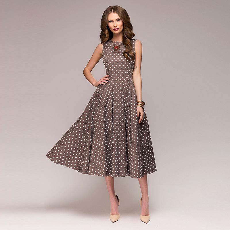 super popular dc398 eee12 Vestito elegante da donna a metà polpaccio vintage elegante con stampa a  polpaccio elegante a maniche lunghe