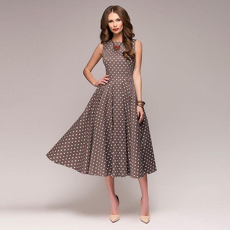 010fb3200cf Women Elegant Thin Dot Printing Mid Calf Vintage Dress Summer New Fashion  Sleeveless O Neck Vestidos Casual Dress Pretty Dresses Night Dresses From  ...