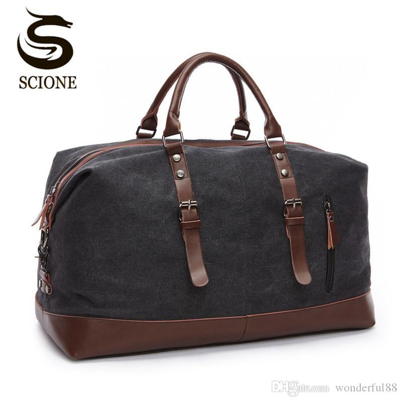 Scione Canvas Leather Men Travel Bags Carry On Luggage Bag Men Duffel Bags  Travel Tote Large Weekend Bag Overnight Male Handbag Duffle Bags For Women  ... 40370fff447c6