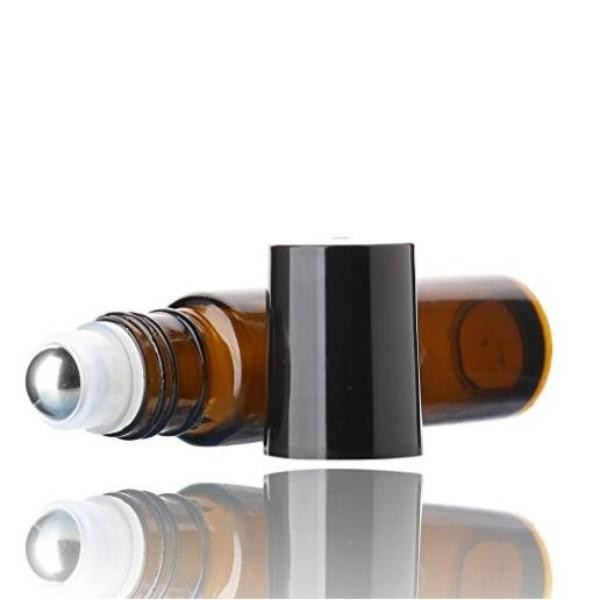 10ML Amber Roll On Empty Glass Bottles -Essential Oils Refillable Glass Roller Ball Roll-On Cobalt Amber Glass w/ Black Cap