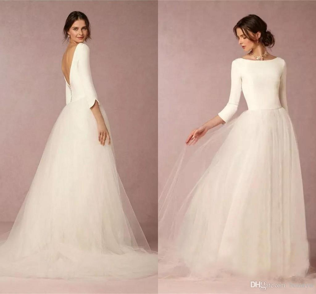 Discount Cheap Modest Simple Wedding Dresses Long Sleeves