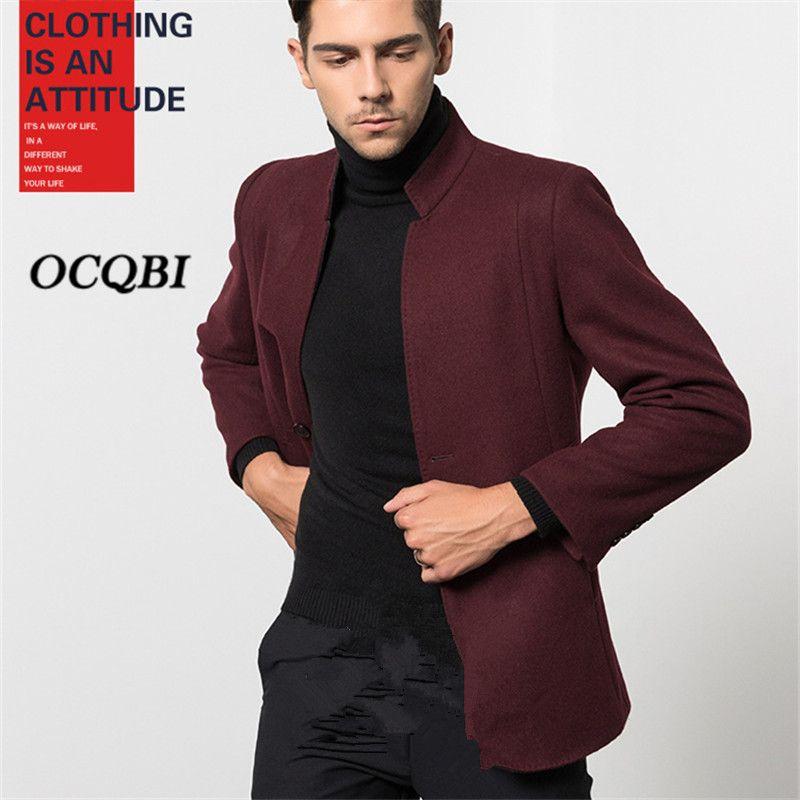 Plus Size M-3XL 2018 Smart Casual Mens Coats Overcoats Fashion Winter  Designer Dress Coat Mens High Quality