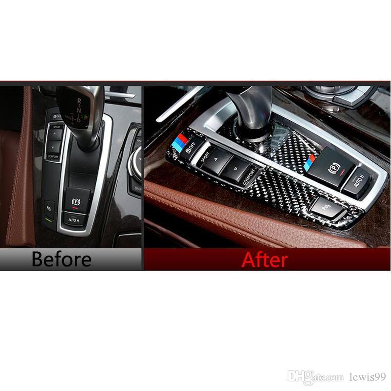 Carbon Fiber Refit Car Gearshift Panel Frame Stickers Gear Knob Cover Decorations For BMW 5 7 Series GT X3 X4 F07 F10 F25 F26