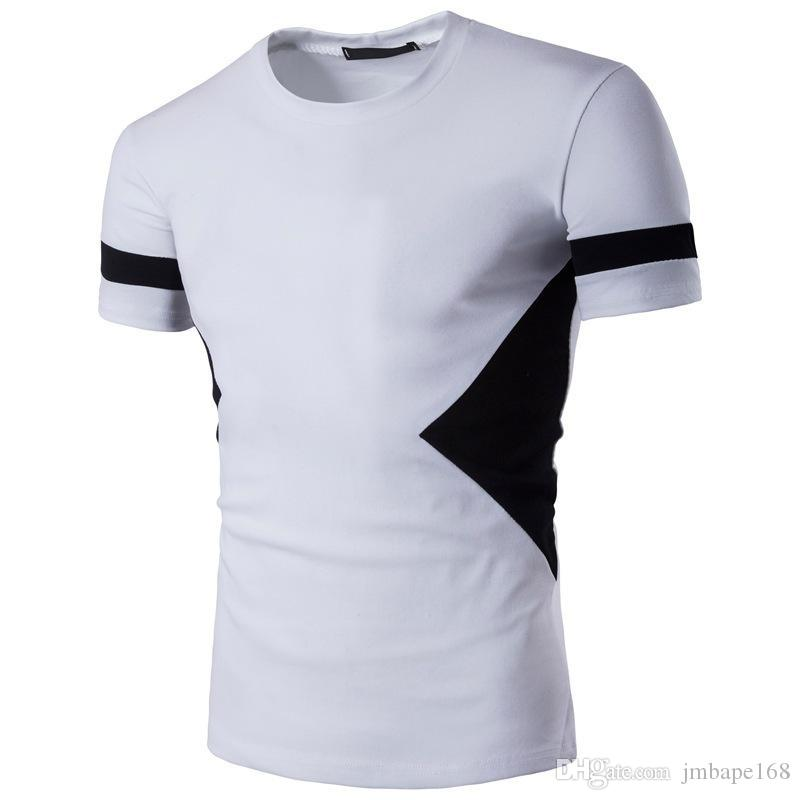 477af10a5639 Summer Men S T Shirt Round Neck Leisure Slim Matching Color Short Sleeve Street  Clothing Half Sleeve Jacket New Style 2018 Tee Shirt Shop Online One T  Shirt ...