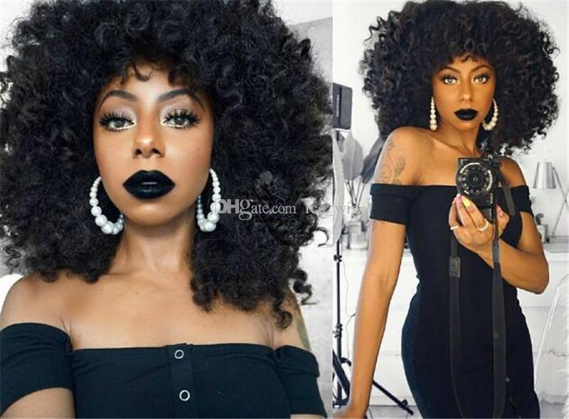 Thick and Soft Human Hair Kinky Curly Glueless Malaysian Full Lace Wig Kinky Curly With Baby Hair 8A Virgin Hair Lace front Wig