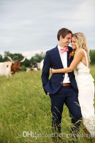 Özel Lacivert Erkek Takım Elbise Düğün 2018 Resmi Damat Ülke Suits Best Man Smokin Parti Balo Giyim Ceket + pantolon