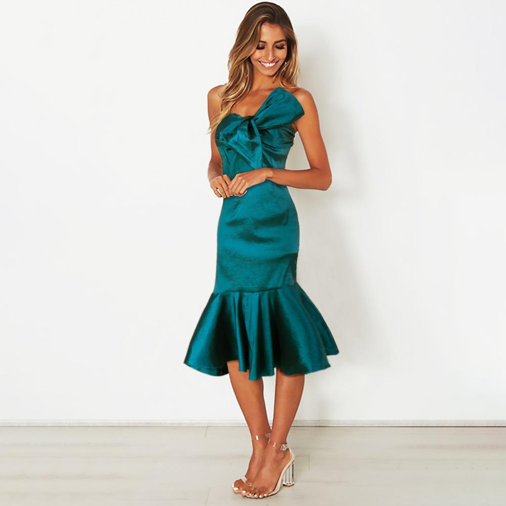 Midi Dress with Fishtail