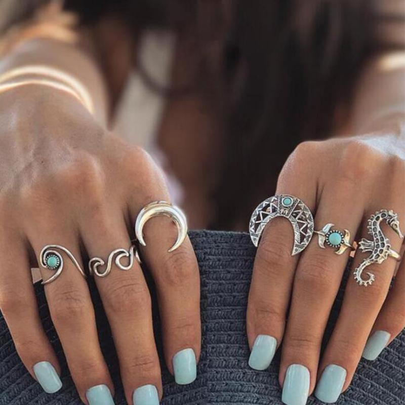 2018 docona Bohemian Silver Moon Sea Horse Finger Ring Set for Women Green Rhinestone Hollow Wave Knuckle Midi Rings 6pcs/1set 4023