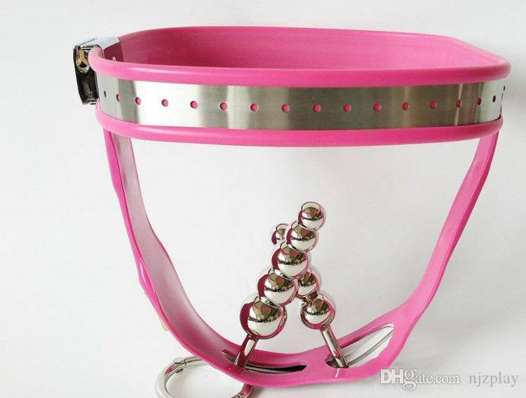 2018 Female Adjustable Model T Stainless Steel Female Pink Chastity Belt Devices With Vagina And Butt Plug Panties Bondage Restraints Fet