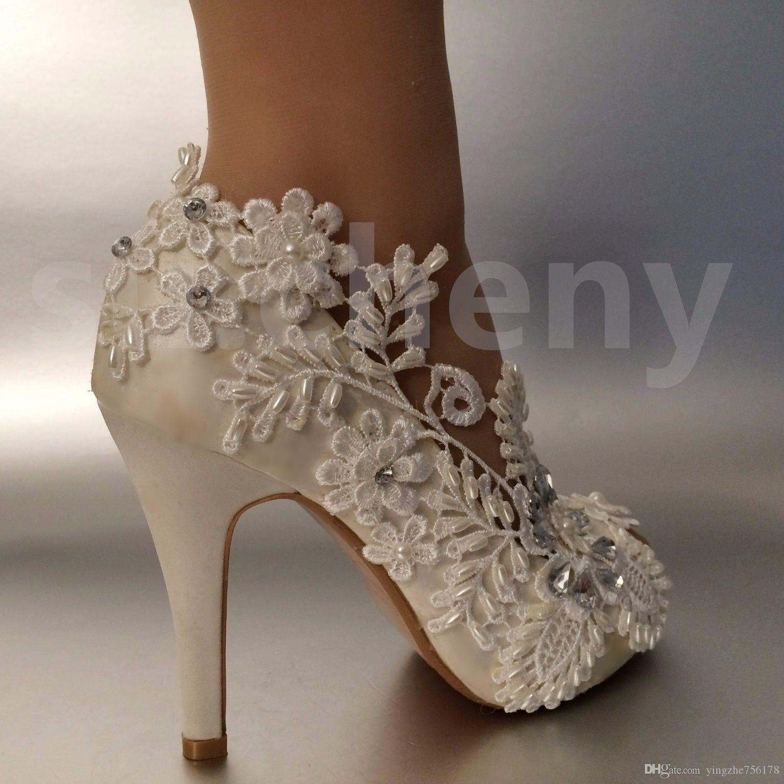 5249564df0a Wedding Shoes Waterproof Ivory Bride Wedding Dresses Diamond Lace Pearl  Manual Wedding BRIDAL HEEL Open Toe Shoe SIZE EU 35 42 Prom Shoes Cheap  Prom Shoes ...