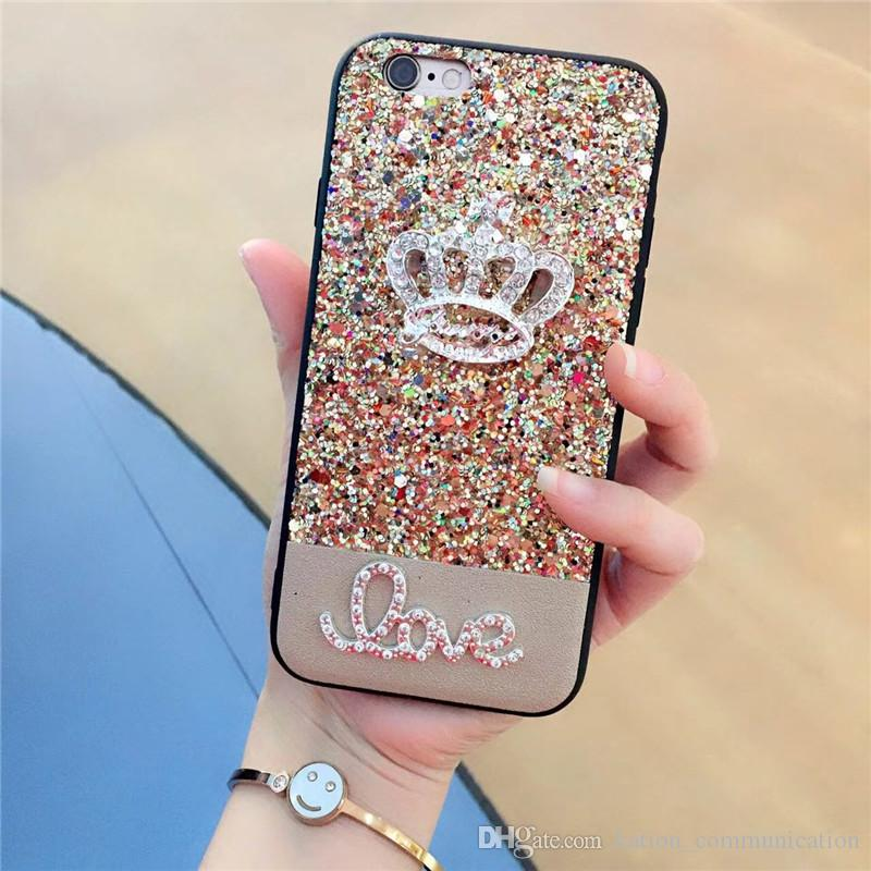 Bling Rhinestone Crystal Diamond Crown Phone Case For iPhone X 8 7 7Plus 6 6s Plus 5 SE Glitter Phone Case Back Cover