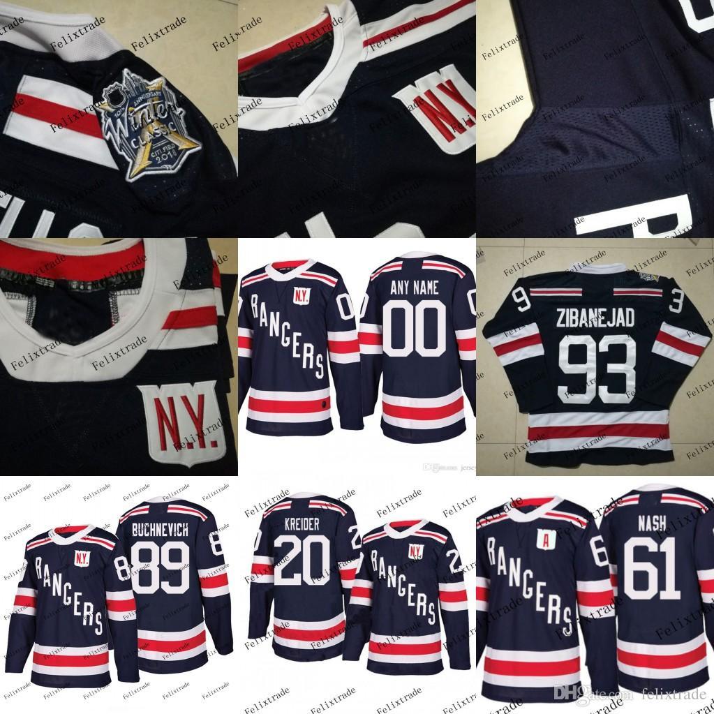 check out f43da d86bb New York Rangers 2018 Winter Classic Jersey 93 Mika Zibanejad 89 Pavel  Buchnevich 20 Chris Kreider 61 Rick Nash Stiching Hockey Jerseys