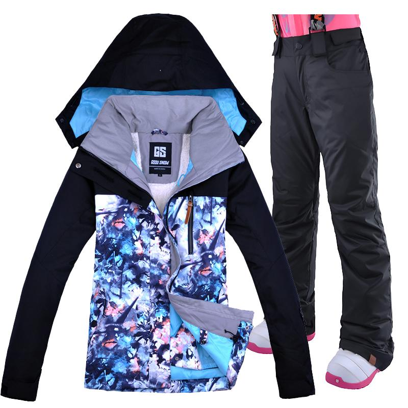 Compre Gsou Snow Ski Suit Mujer Chaqueta De Esquí Y Pantalones Chaqueta  Impermeable A Prueba De Viento Mujeres Transpirable Correa Pantalones Ropa De  Esquí ... 21c27386706