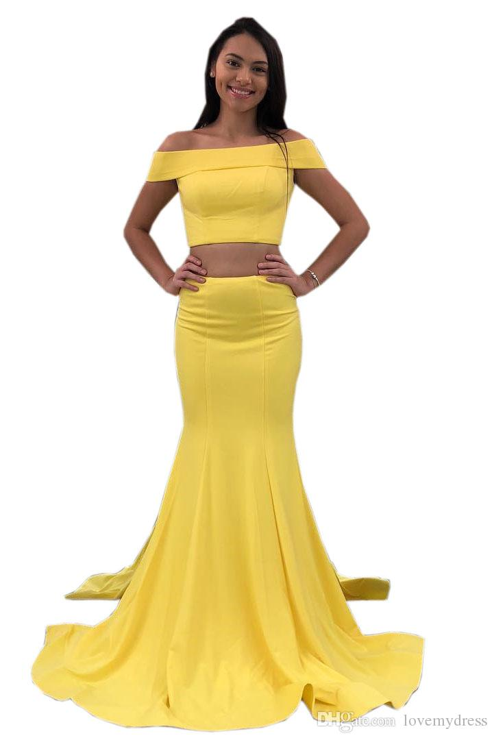7b0af9f47010 Yellow Mermaid Satin Prom Dress Long 2018 Off The Shoulder With Sleeves  Zipper Back Floor Length Cheap Evening Formal Dress Plus Size Formal Gowns  Poofy ...