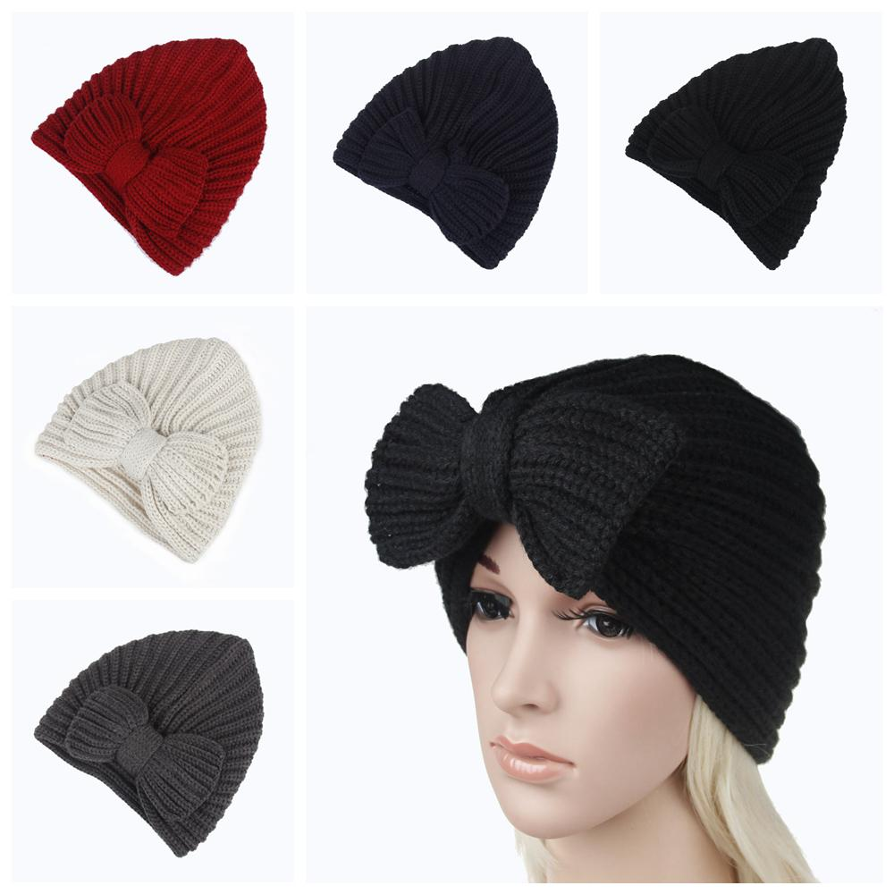 Girls Bowknot Knitted Beanie Caps Women Winter Crochet Kint Hat Female  Cashmere Headwear Warmer Cap AAA859 Funny Hats Funny Hats For Parties From  ... 7eb390f2215