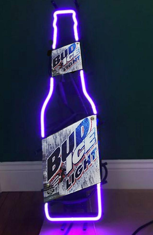 2019 Bud Ice Bottle Handcrafted Neon Sign Custom Real