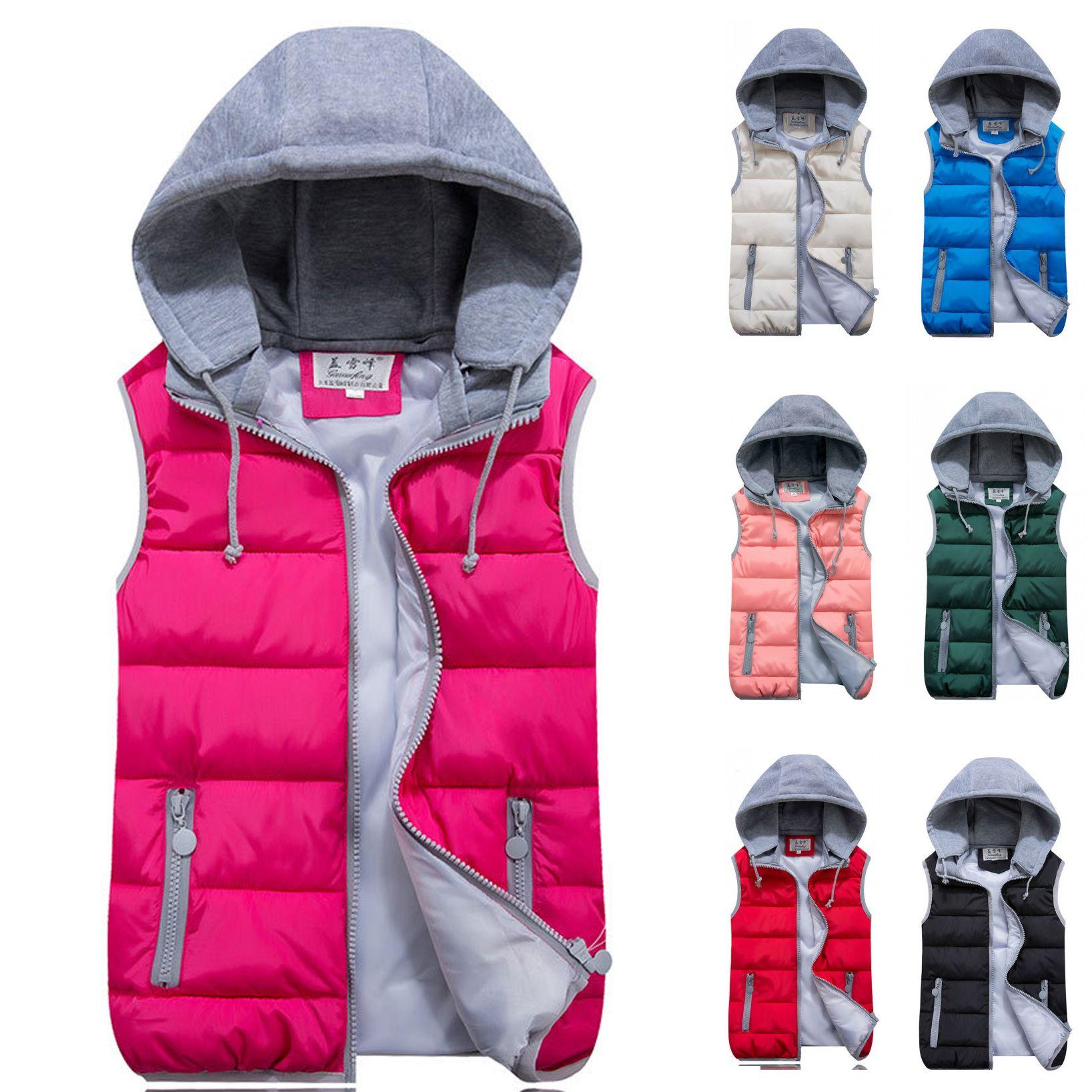 ed2b8391418 Kids Girls Boys Down Cotton Waistcoat Zipper Winter Warm Thicken Vest  Hooded Children Sleevess Coat Jacket One Kid Down Coat Toddler Boys Down  Jacket From ...
