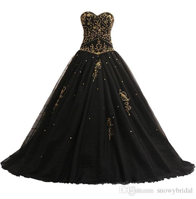 Black Gold Gothic Wedding Dresses Embroidery Bodice Beaded Corset