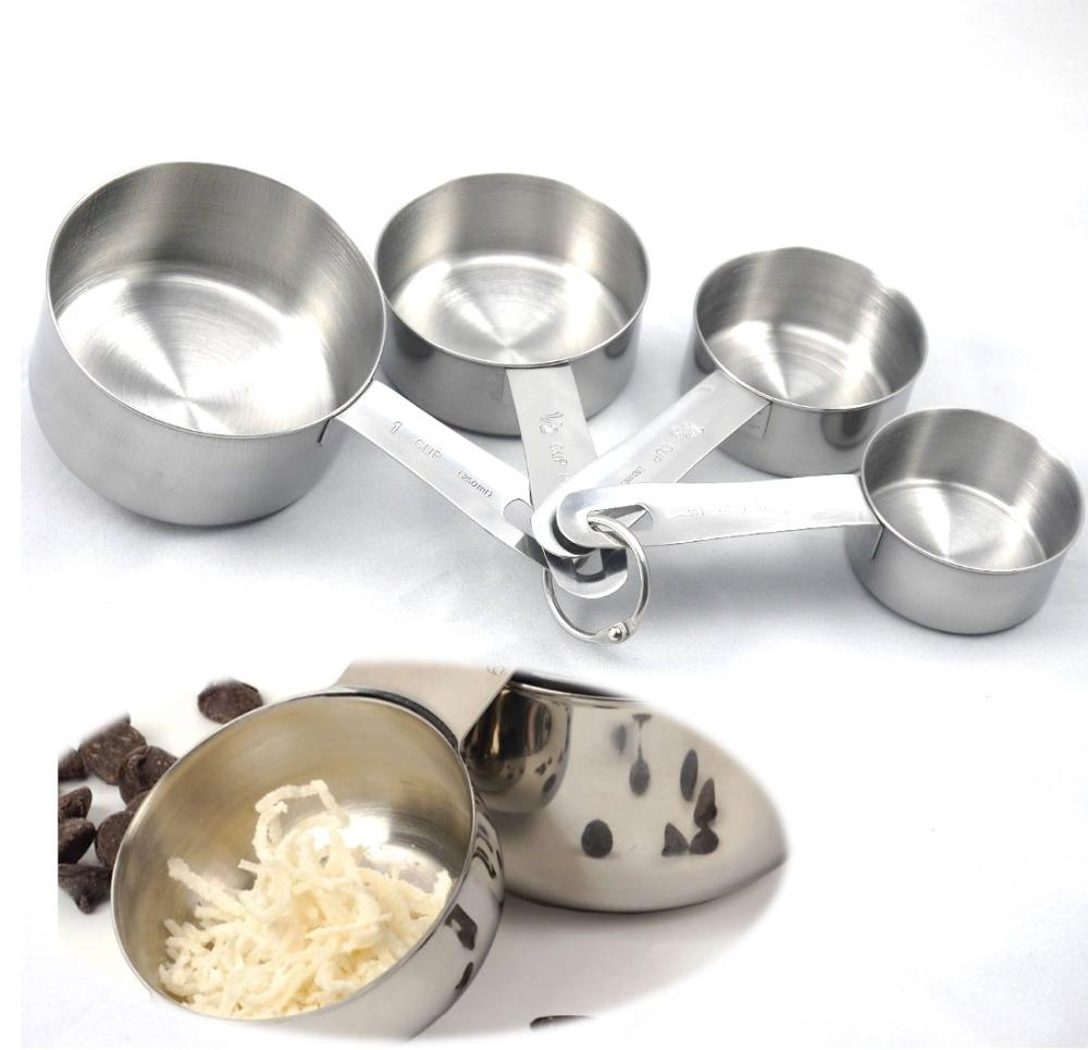 Wholesale- New Baking Tools For Cake 4PCS Stainless Steel Measuring Cups Spoon Kitchen Scale Flour Sugar Making Cupcake Pizza Cooking Tools