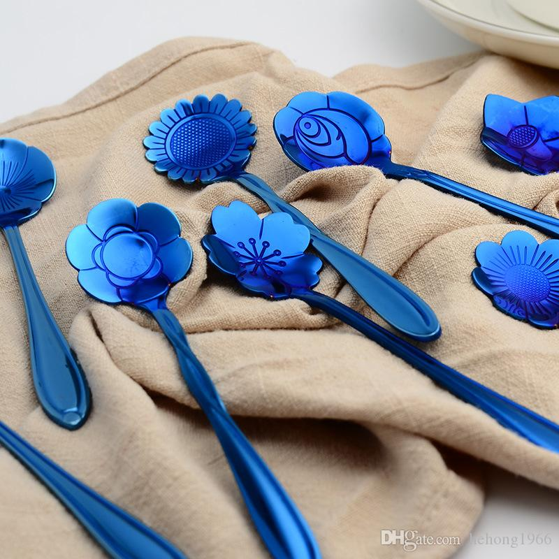 Coffee Stirring Spoon Blue Gold Plated Stainless Steel Tableware Cherry Blossoms Dessert Scoop Rose Shape Special 2 6wla V